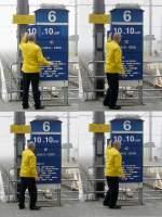 Bahnhofsschilder/14893/elektronischer-zugzielanzeiger-in-blankenberge-130409-jeanny 'Elektronischer' Zugzielanzeiger in Blankenberge. 13.04.09 (Jeanny)
