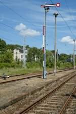 Signale und Sicherheitstechnik/42008/formsiganal-f-und-eine-pilzlampe-in Formsiganal 'F' und eine Pilzlampe in Sassnitz.  Juni 2009