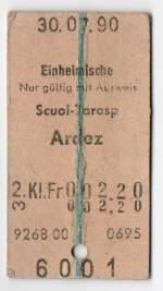Billette vom Schalter/136918/fahrkarte-fuer-einheimische-von-scoul-tarasp-nach Fahrkarte für Einheimische von Scoul-Tarasp nach Ardez, Gültigkeit 30.07.1990. (gefunden von einem Nicht-Einheimischen in Scoul)