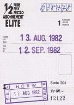 Billette vom Schalter/9444/eine-1-monatige-halbpreisabonnements-karte-zum-preis-von Eine 1-Monatige Halbpreisabonnements-Karte zum Preis von Fr. 65.- von 1982. Heute kostet ein zwölf-monatiges 1/2 Abt. CHF. 150.-, also wesentlich weniger als vor 27 Jahren.