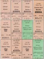 Billette vom Schalter/9569/edmonsonsche-billette-t-639---beamtentarif Edmonsonsche Billette T 639 - Beamtentarif, d.h. Bahnangestellte erhielten dazumal diese um 75% ermäßigten Fahrkarten.