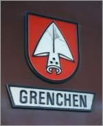 Embleme und Wappen/119605/neben-der-sbb-ae-66-11506 Neben der SBB Ae 6/6 11506 trägt auch die BLS Re 4/4 163 ein Grenchner Wappen. Interlaken Ost, 5. Feb. 2011.