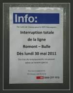 Hinweisschilder/141537/erfreulich-es-wird-fuer-die-bahn Erfreulich: Es wird für die Bahn Zukunft investiert; aber das wird wohl das Ende der letzten im Planverkehr eingesetzten (ex)seehas-MThB Triebwagen bedeuten. Romont, den 27. Mai 2011