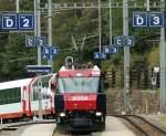 Hinweisschilder/38071/damit-der-reisende-weiss-wo-er Damit der Reisende weiss, wo er seinens Speise-, Erte- oder Zweite Klasse-wagen findent, sind die Bahnsteige in Sektoren eingeteilt. Bergün, 19.09.2009