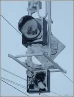 Signale und Sicherheitstechnik/54751/vom-schneesturm-des-241209-gezeichnetes-signal Vom Schneesturm des 24.12.09 gezeichnetes Signal in Ospizio Bernina. (Jeanny)